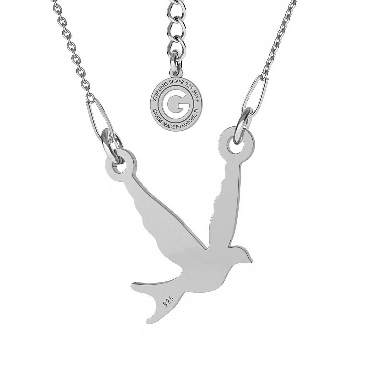 Srebrny naszyjnik ptak jaskółka, srebro 925