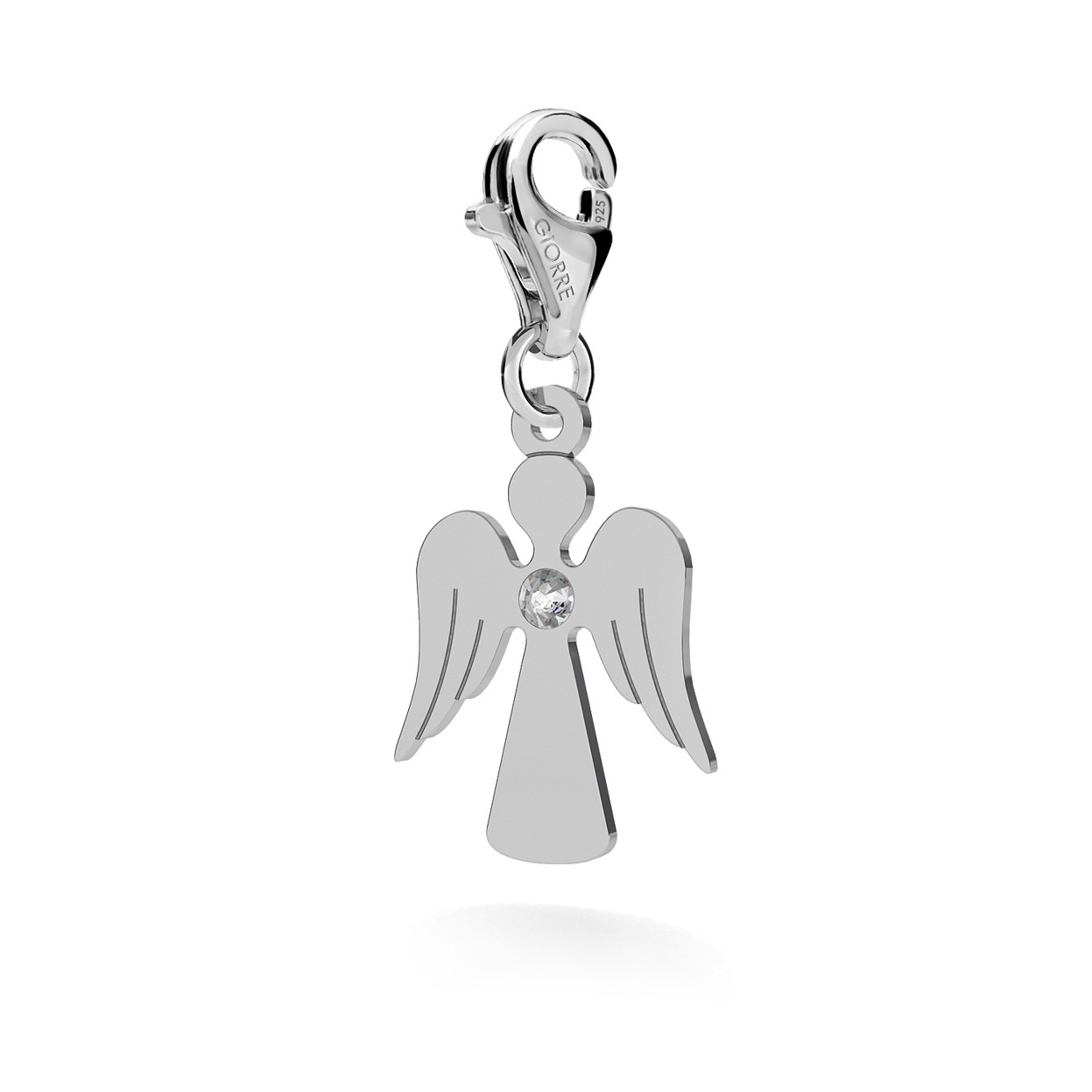 CHARM 96, ANGEL, SWAROVSKI 2038 SS 6, STERLING SILVER (925) RHODIUM OR GOLD PLATED