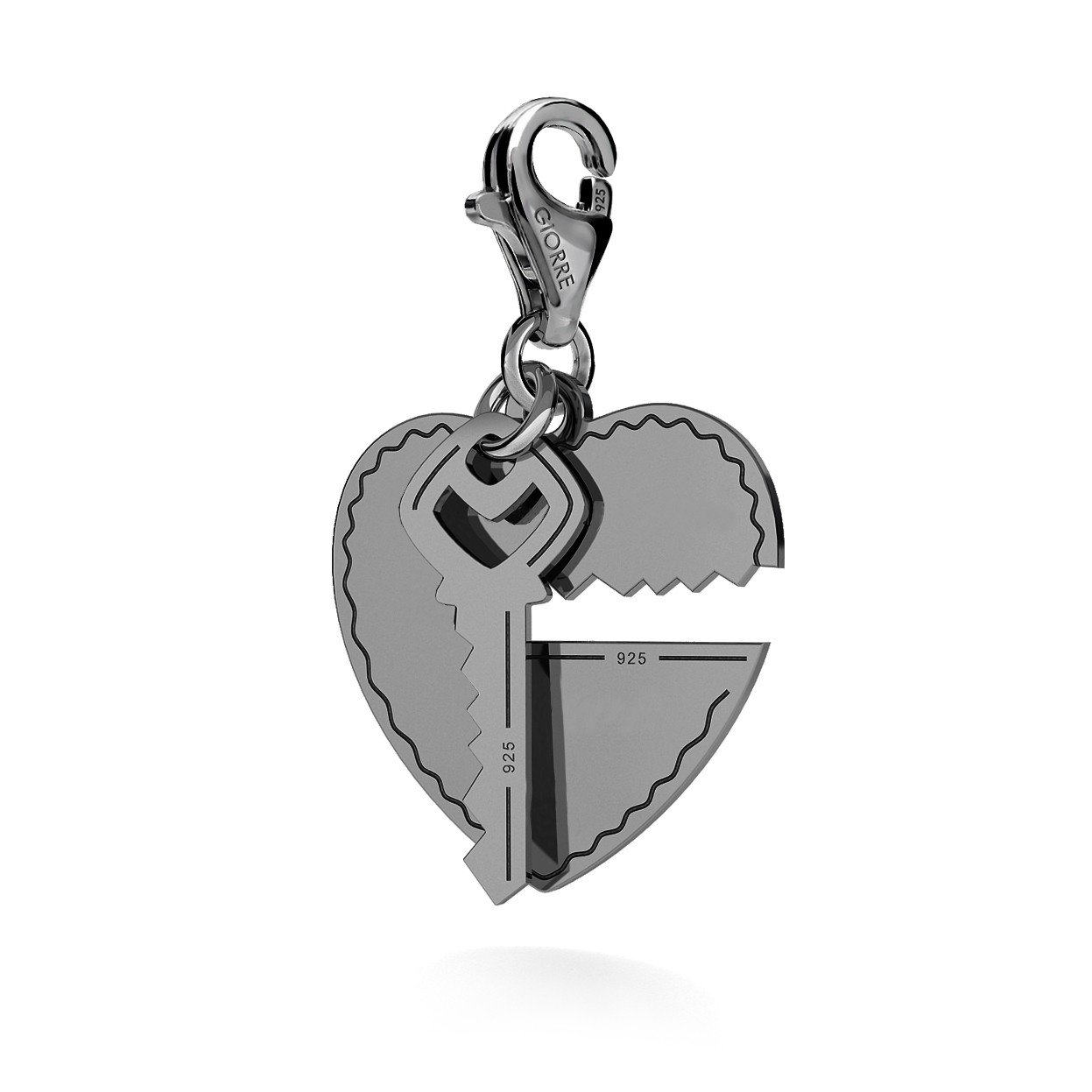 CHARM 108, LOVE HEART WITH KEY, STERLING SILVER (925) RHODIUM OR GOLD PLATED