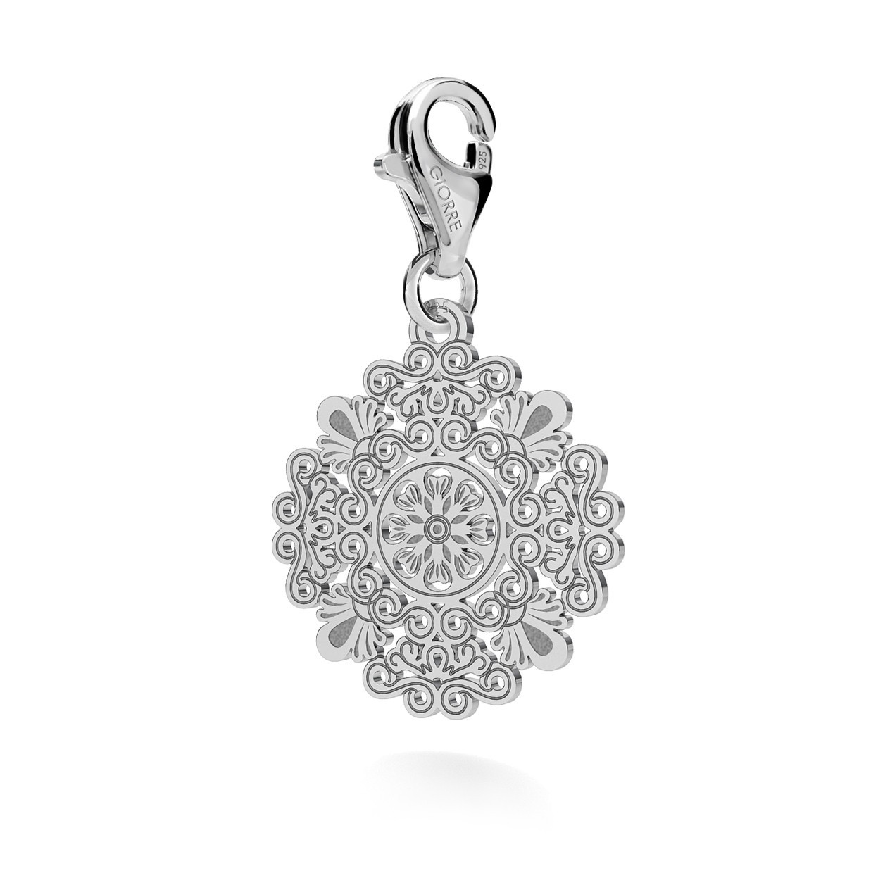 CHARM 105, OPENWORK BOHO ROSETTE, STERLING SILVER (925) RHODIUM OR GOLD PLATED