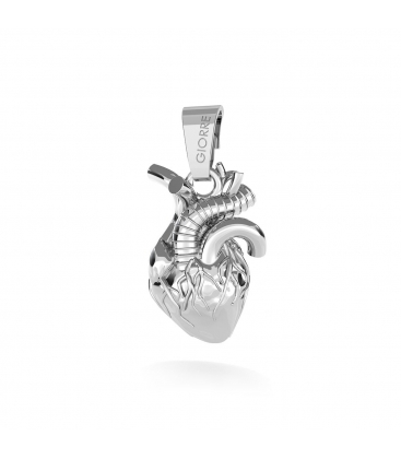 HUMAN'S HEART CHARMS PENDANT BEAD STERLING SILVER