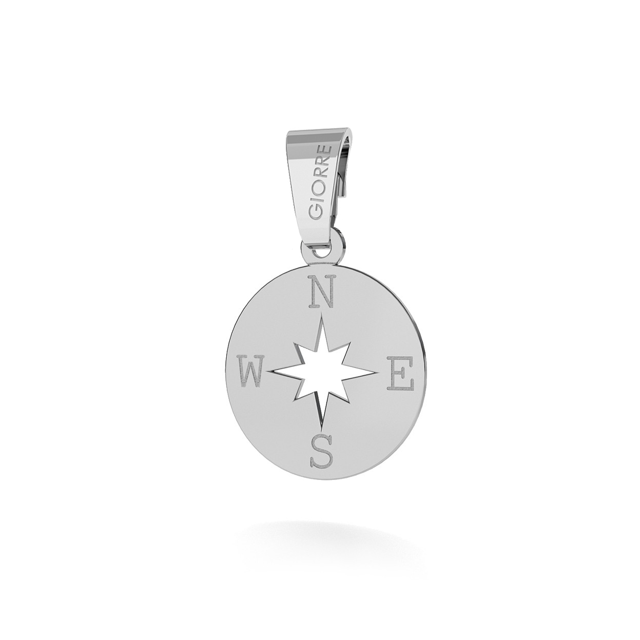 CHARM 63, WIND ROSE, SILVER 925,  RHODIUM OR GOLD PLATED