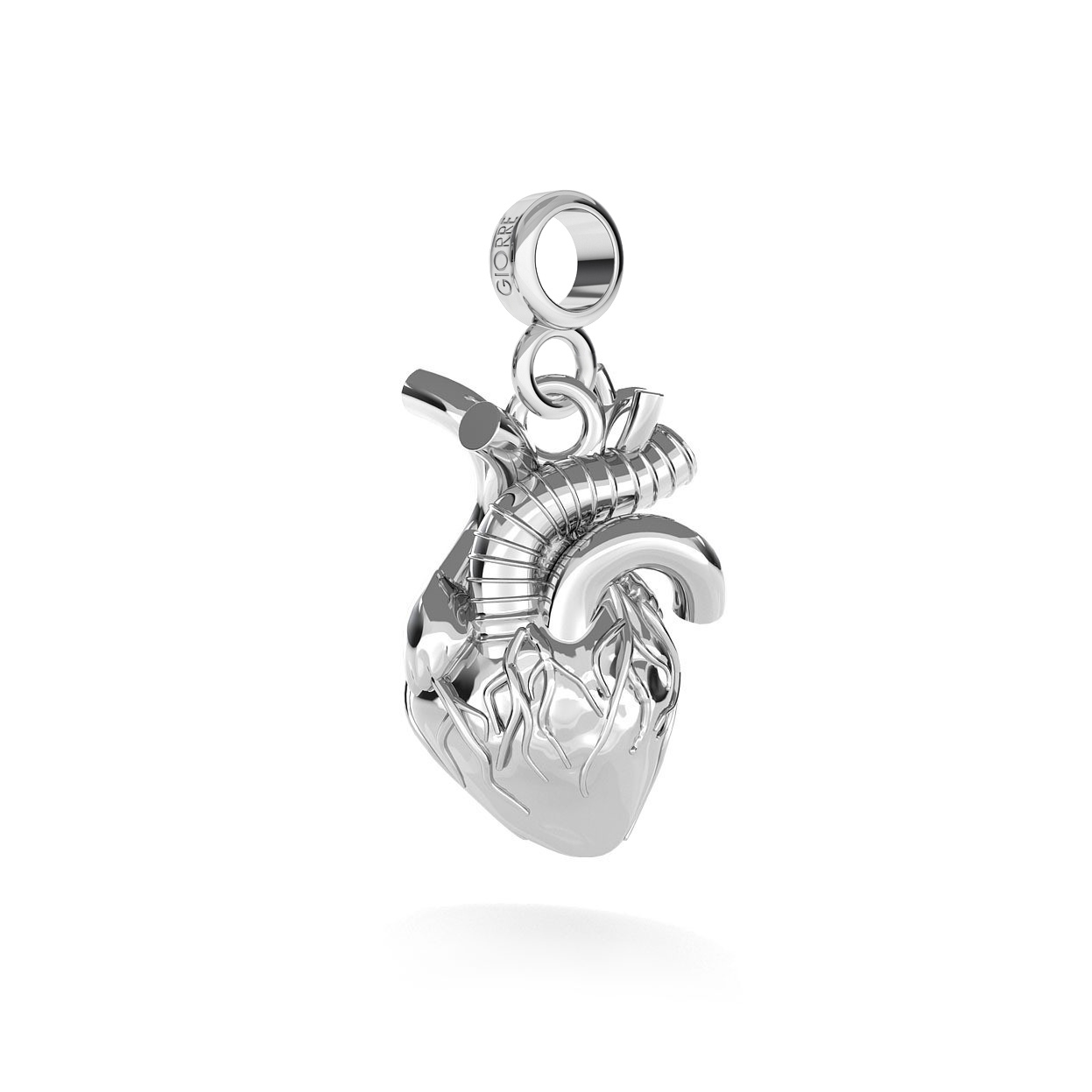 CHARM 139, HUMAN HEART, STERLING SILVER (925) RHODIUM OR GOLD PLATED