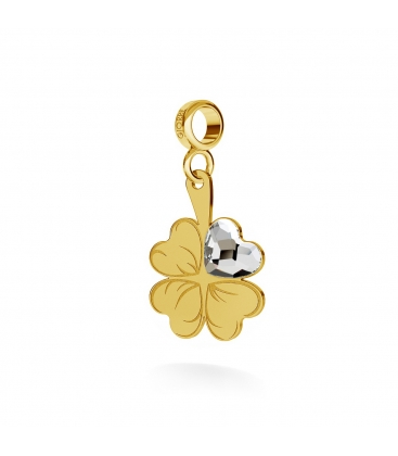 CHARM 116, CLOVER WITH HEART, STERLING SILVER (925) RHODIUM OR GOLD PLATE