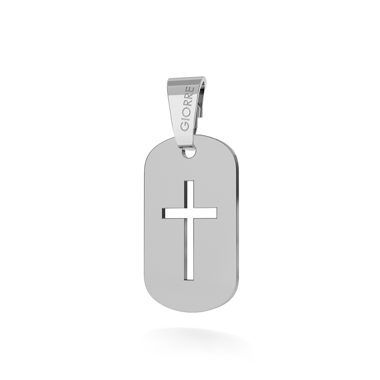 CHARM 120, DOG TAG WITH CROSS, STERLING SILVER (925) RHODIUM OR GOLD PLATED