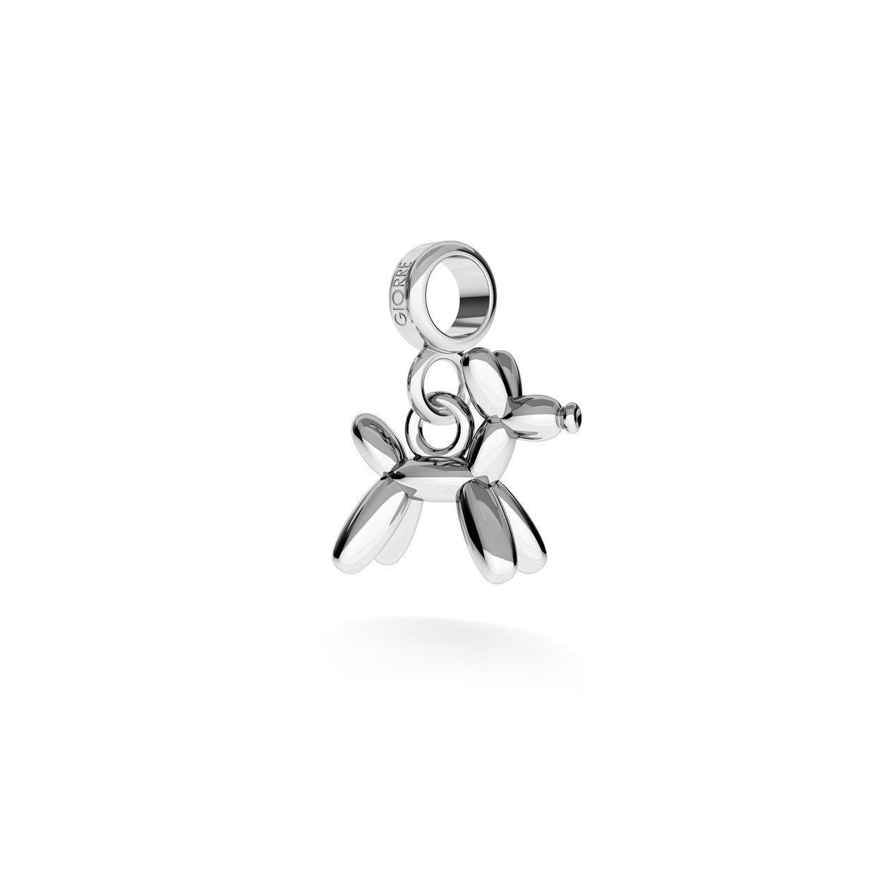 CHARM 138, BALLOON DOG, STERLING SILVER (925) RHODIUM OR GOLD PLATED
