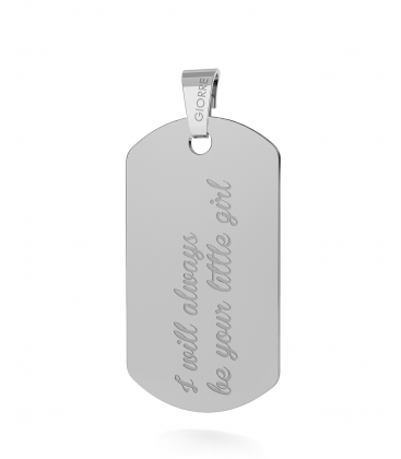 CHARM 67, DOG TAG WITH ENGRAVE SILVER 925, RHODIUM OR GOLD PLATED