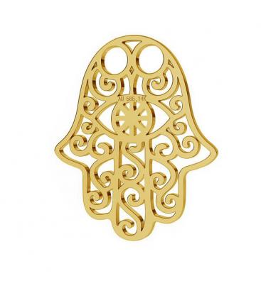 Złota zawieszka hamsa, ręka fatimy, au 585