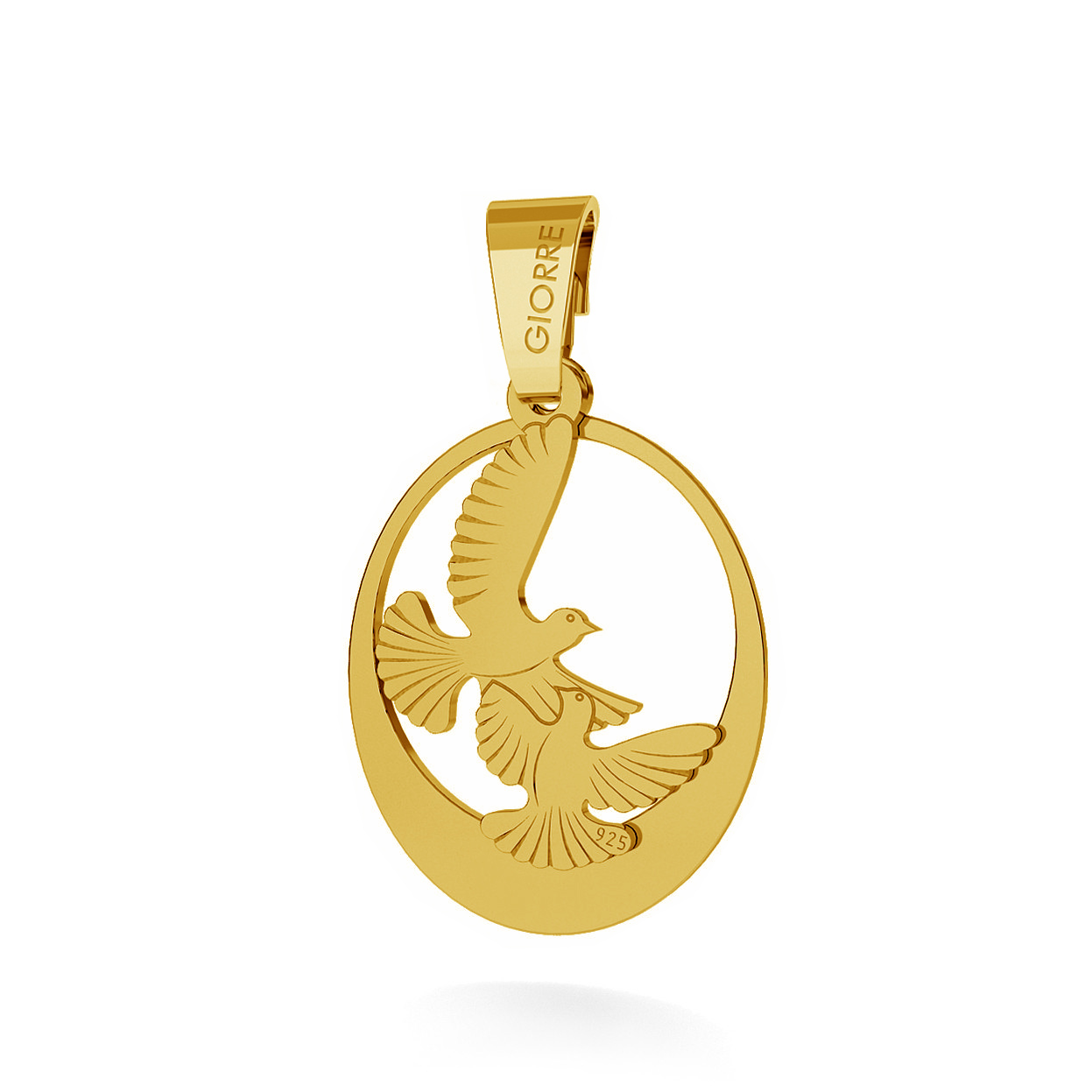 CHARM 123, TURTLEDOVE WITH ENGRAVE, STERLING SILVER (925) RHODIUM OR GOLD PLATED