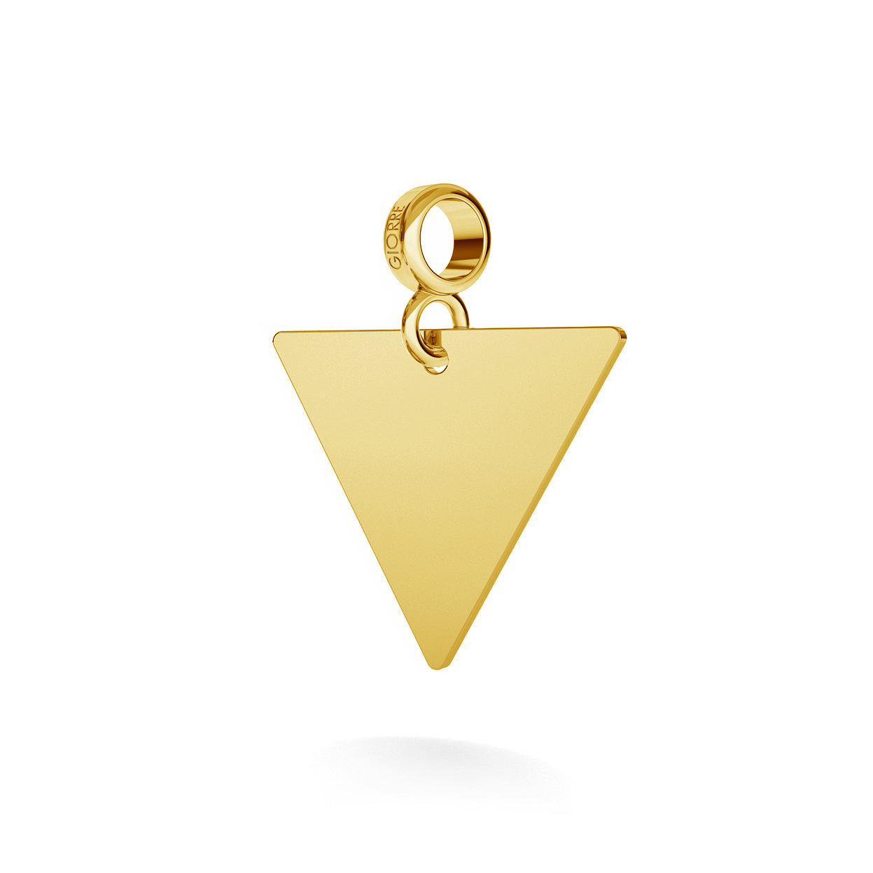 CHARM WITH ENGRAVE, TRIANGLE, SILVER 925,  RHODIUM OR GOLD PLATED