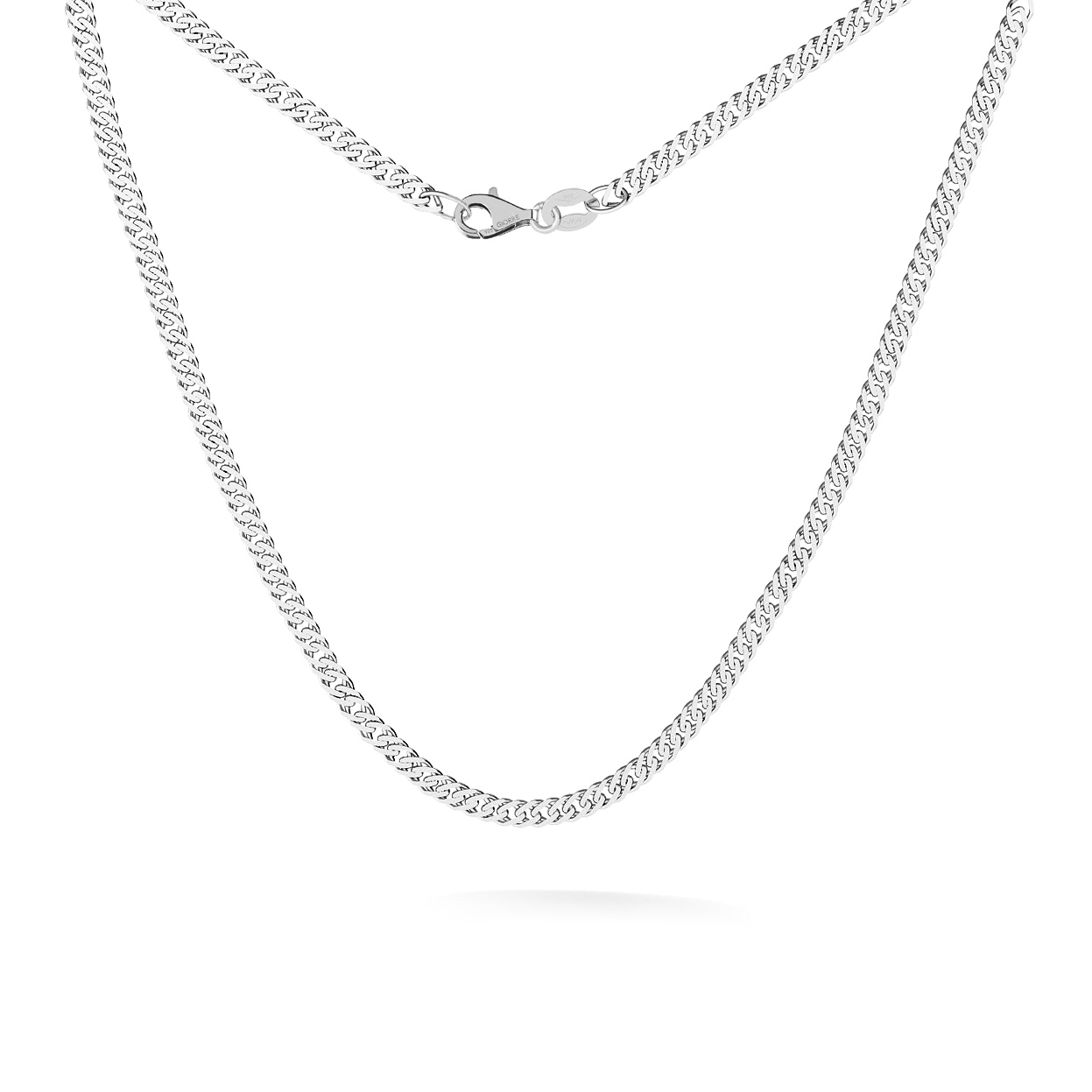 SILVER NECKLACE WITH BALLS 45-55 CM, RHODIUM PLATED (BLACK RHODIUM)