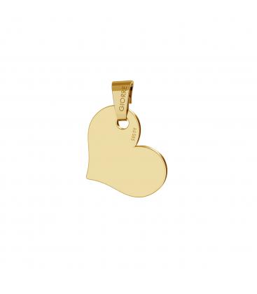 Złota zawieszka serce grawer au 585