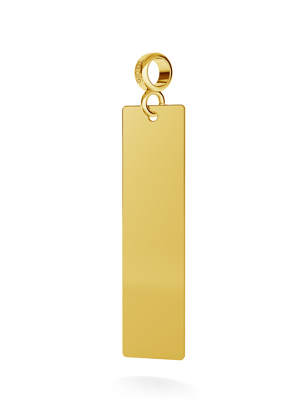 CHARM WITH ENGRAVE, RECTANGLE, SILVER 925, RHODIUM OR GOLD PLATED