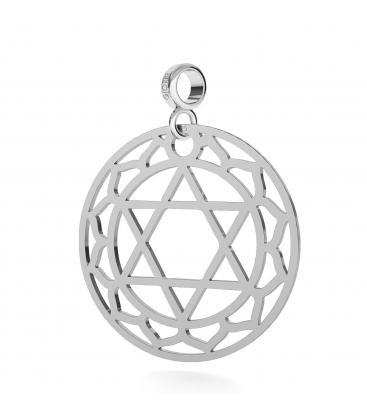 Srebrny charms zawieszka beads czakra serca 925