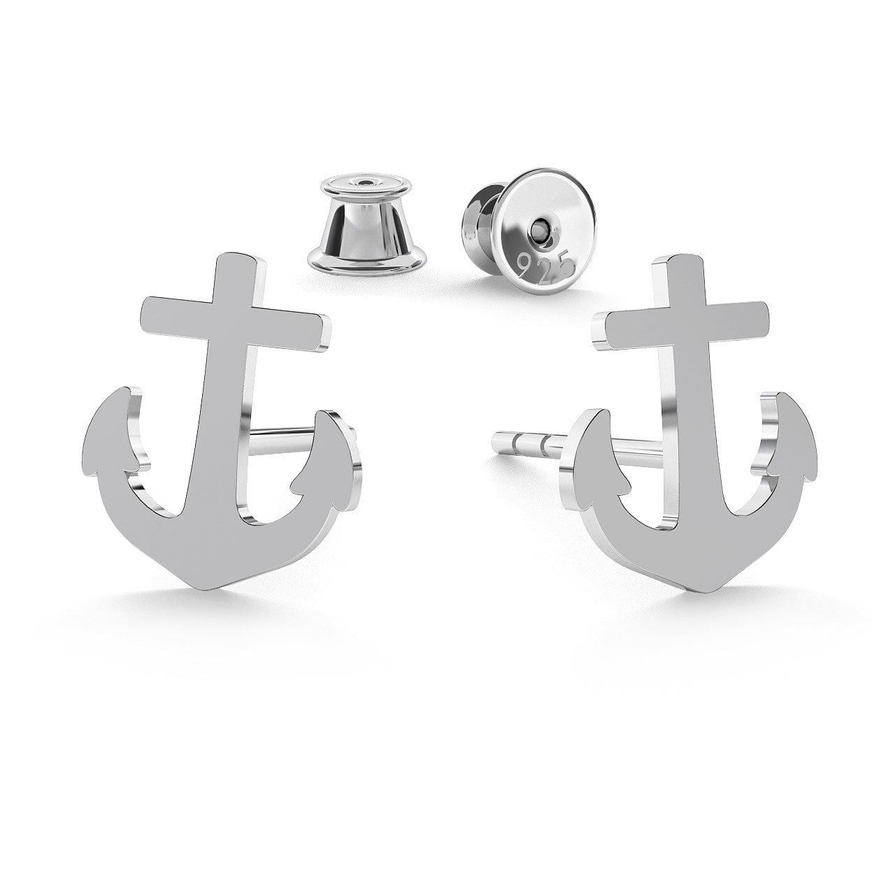 EARRINGS ANCHORS, STERLING SILVER (925) RHODIUM OR GOLD PLATED