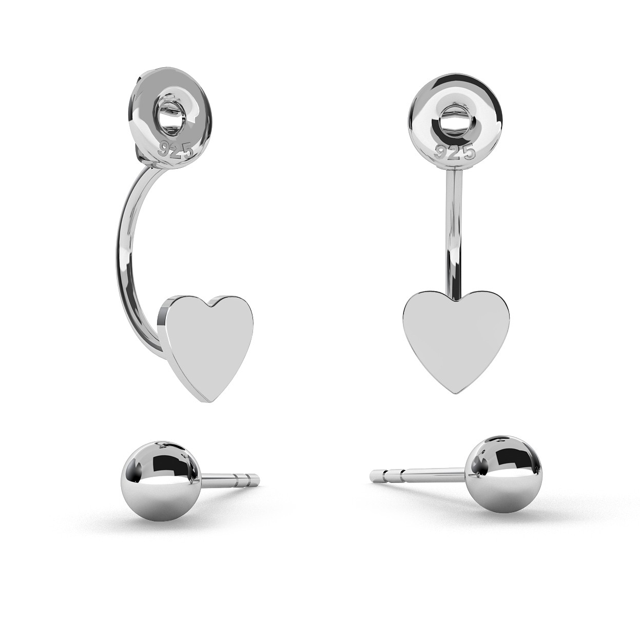 TRIBAL EARRINGS BALL & HEART, STERLING SILVER (925) RHODIUM OR GOLD PLATED
