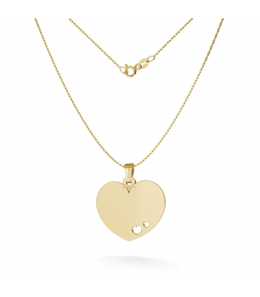 NECKLACE WITH HEART TAG PENDANT ENGRAVING 585 14K, MODEL 546