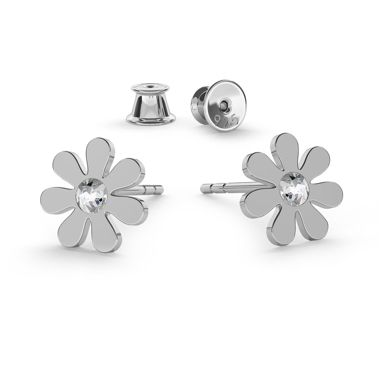 DAISY EARRINGS STUDS, SWAROVSKI 2058 SS 7, STERLING SILVER (925) RHODIUM OR GOLD PLATED