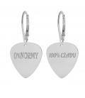 GUITAR PICK WITH ENGRAVED EARRINGS STERLING SILVER 925