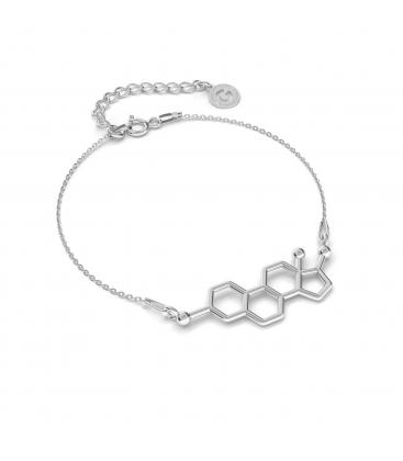 Srebrna bransoletka estrogen, wzór chemiczny 925