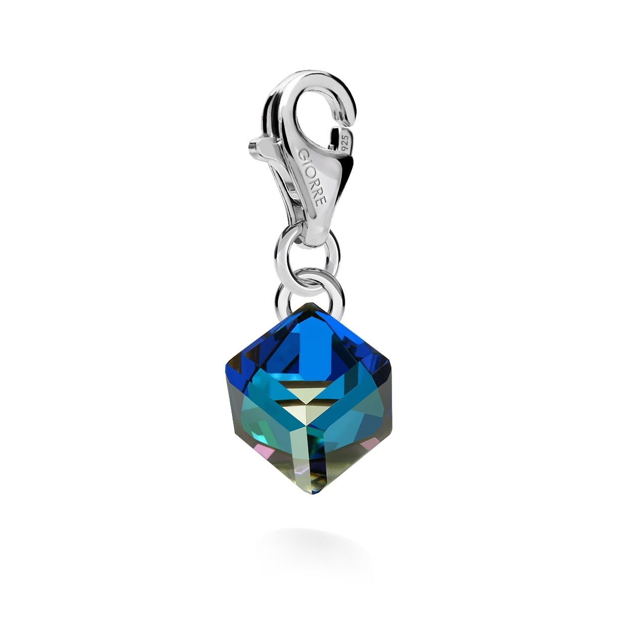CHARM 99, CUBE, SWAROVSKI 4841 MM 6, STERLING SILVER (925) RHODIUM OR GOLD PLATED