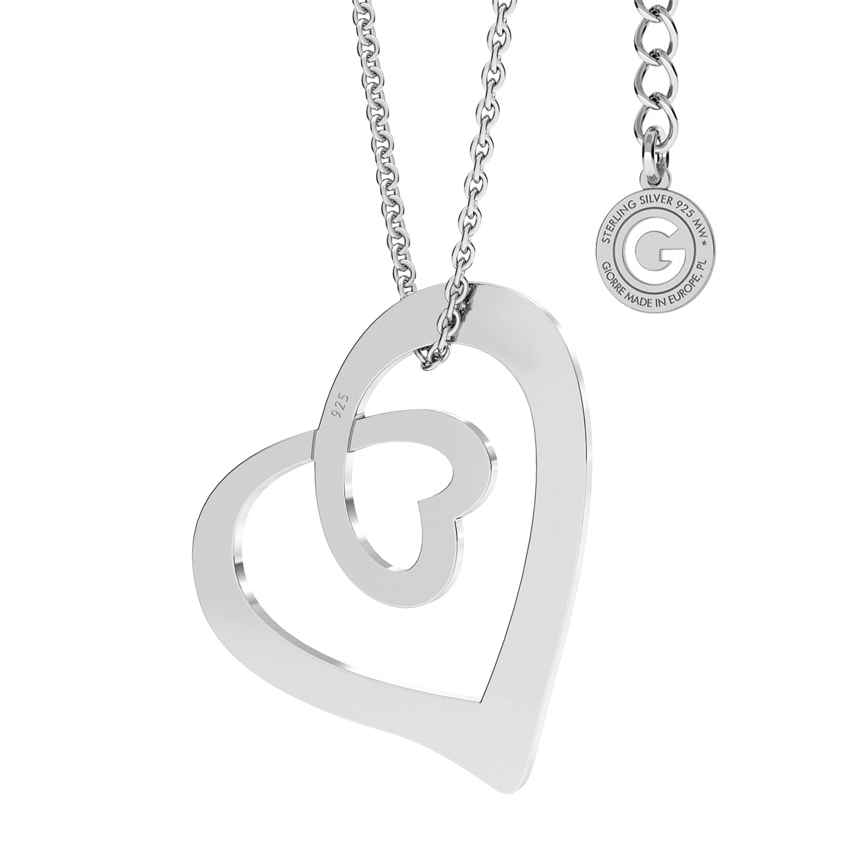 HEART NECKLACE SILVER 925 WITH ENGRAVED