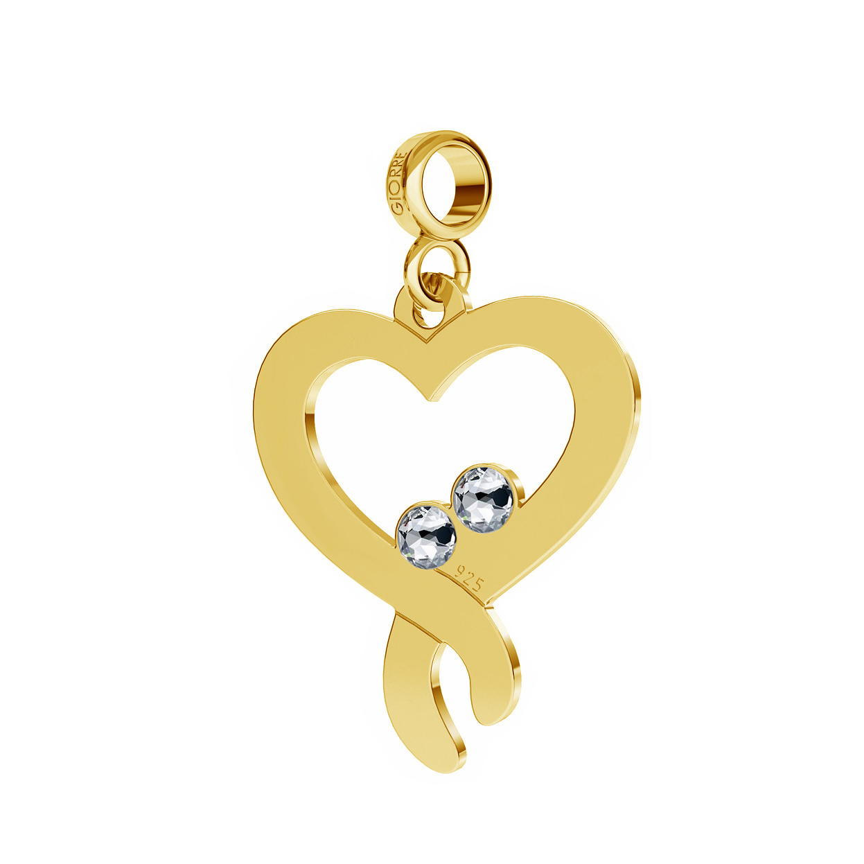 DOUBLE HEART WITH SWAROVSKI CHARMS BEADS PENDANT STERLING SILVER