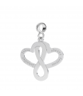 DOUBLE HEART WITH INFINITY SIGN CHARMS BEADS PENDANT STERLING SILVER