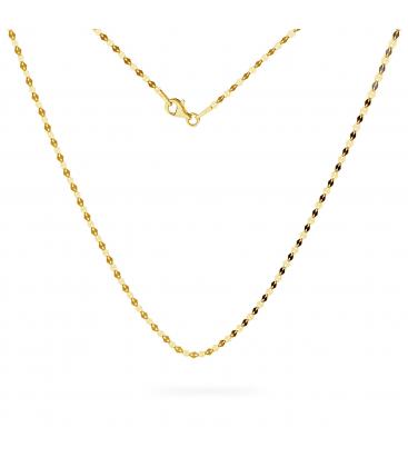 Złoty łańcuszek z blaszek kawa au 585