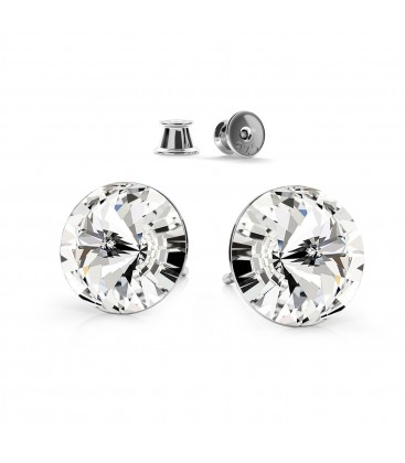 Sterling silver earrings with swarovski rivoli crystals 10 mm