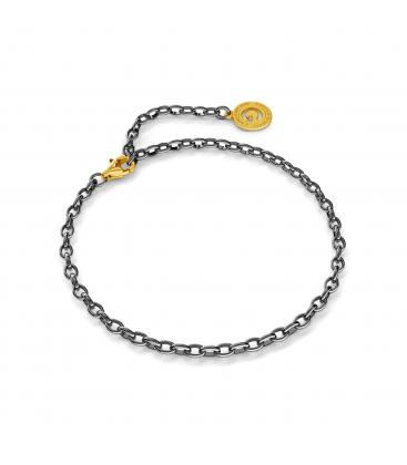 Pulsera de plata 16-24 cm rodio negro, cierre oro amarillo, enlace 4x3mm