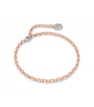 Silbernes armband 16-24 cm, rosagold, verschluss helles rhodium, kettenglieder 4x3 mm