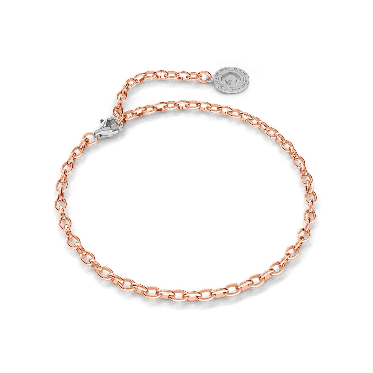 Pulsera de plata 16-24 cm oro rosa, cierre rodio claro,  enlace 4x3mm
