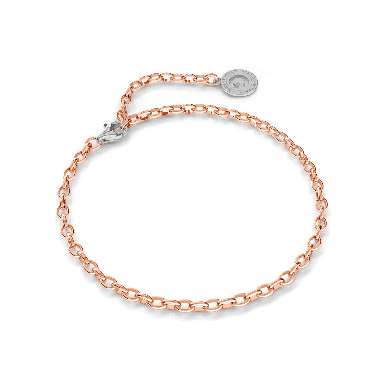 Sterling silver bracelet 16-24 cm pink gold, light rhodium clasp, link 4x3 mm