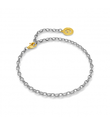 STERLING SILVER BRACELET 16-24 CM LIGHT RHODIUM, YELLOW GOLD CLASP, LINK 4X3 MM