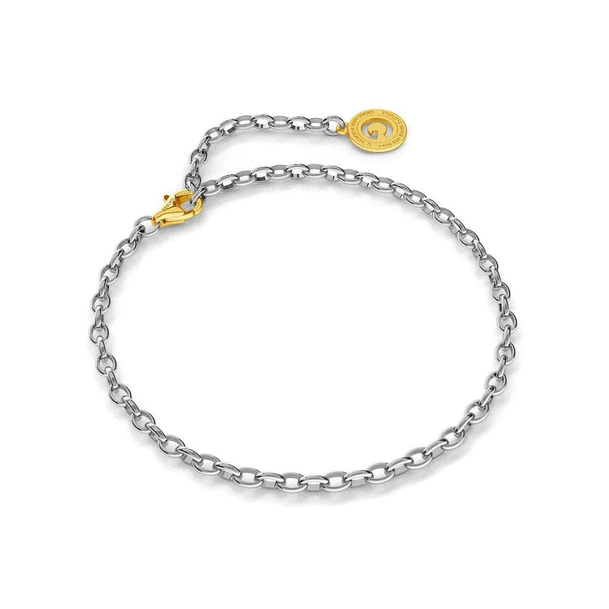 Pulsera de plata 16-24 cm rodio claro, cierre oro amarillo, enlace 4x3mm