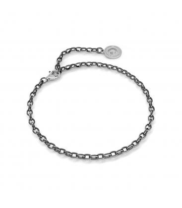 Silbernes armband 16-24 cm, schwarzes rhodium, verschluss helles rhodium, kettenglieder 4x3 mm