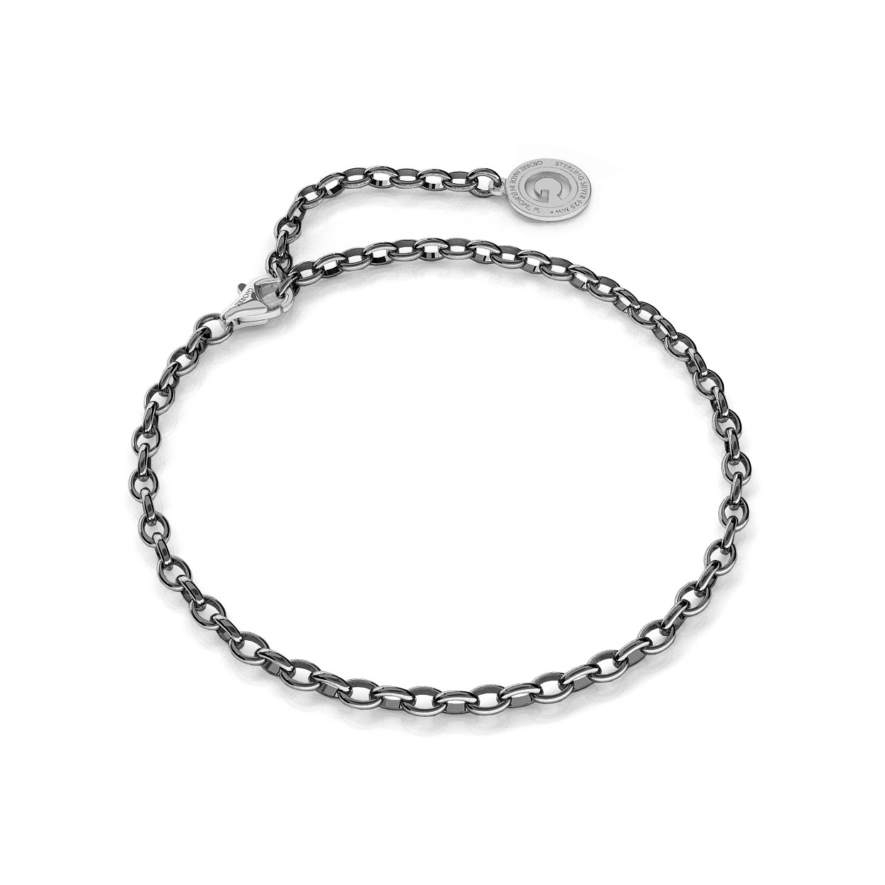 Sterling silver bracelet 16-24 cm black rhodium, light rhodium clasp, link 4x3 mm