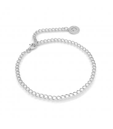Pulsera de plata rombo 16-24 cm, plata chapada en rodio (rodio claro)