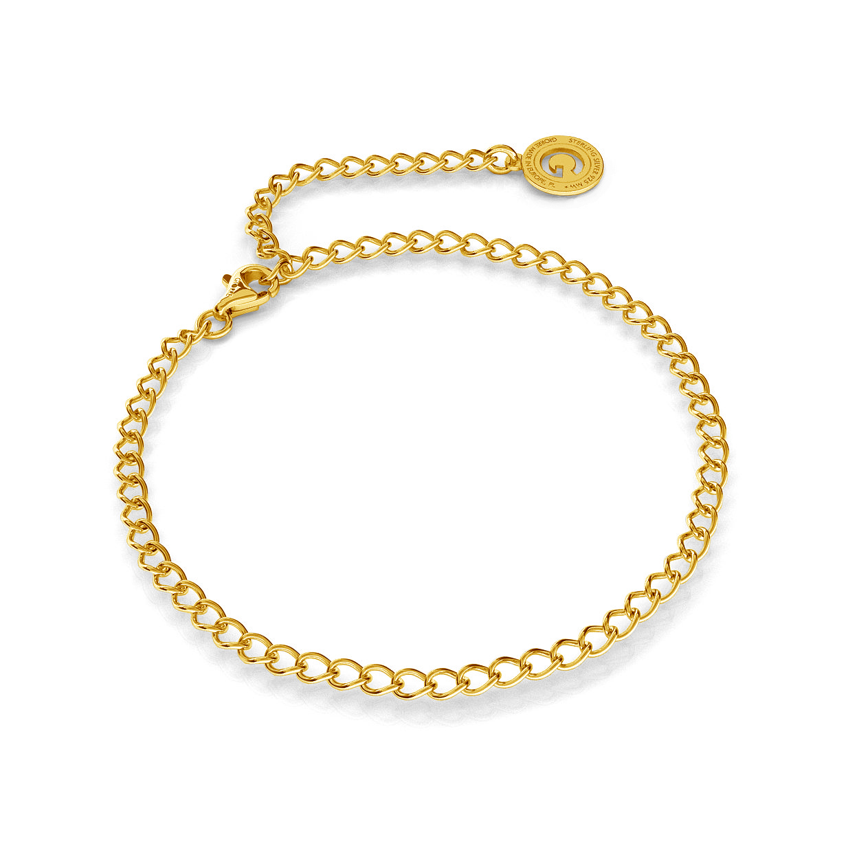 SILVER BRACELET ROMBO 24 CM, GOLD PLATED (YELLOW GOLD)