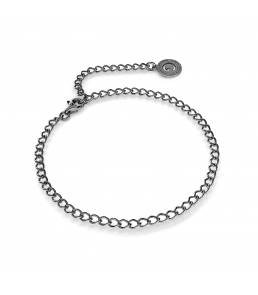 Pulsera de plata rombo 16-24 cm, plata chapada en rodio (rodio negro)