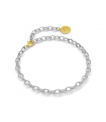 Pulsera de plata 16-24 cm rodio claro, cierre oro amarillo, enlace 6x4 mm