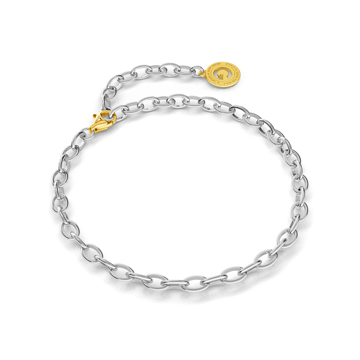 STERLING SILVER BRACELET 16-24 CM LIGHT RHODIUM, YELLOW GOLD CLASP, LINK 6X4 MM