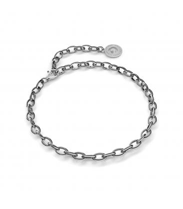 Pulsera de plata 16-24 cm rodio negro, cierre rodio claro, enlace 6x4 mm