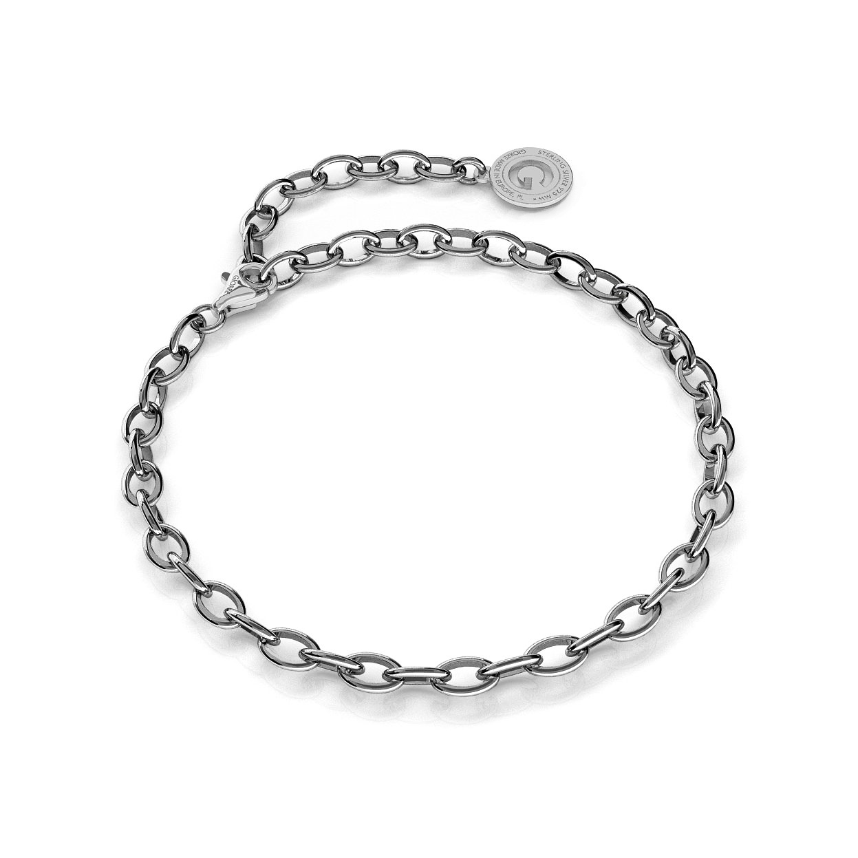 STERLING SILVER BRACELET 16-24 CM BLACK RHODIUM, LIGHT RHODIUM CLASP, LINK 6X4 MM