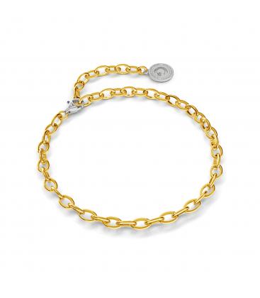 Pulsera de plata 16-24 cm oro amarillo, cierre rodio claro, enlace 6x4 mm