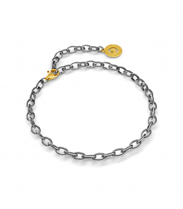 Pulsera de plata 16-24 cm rodio negro, cierre oro amarillo, enlace 6x4 mm