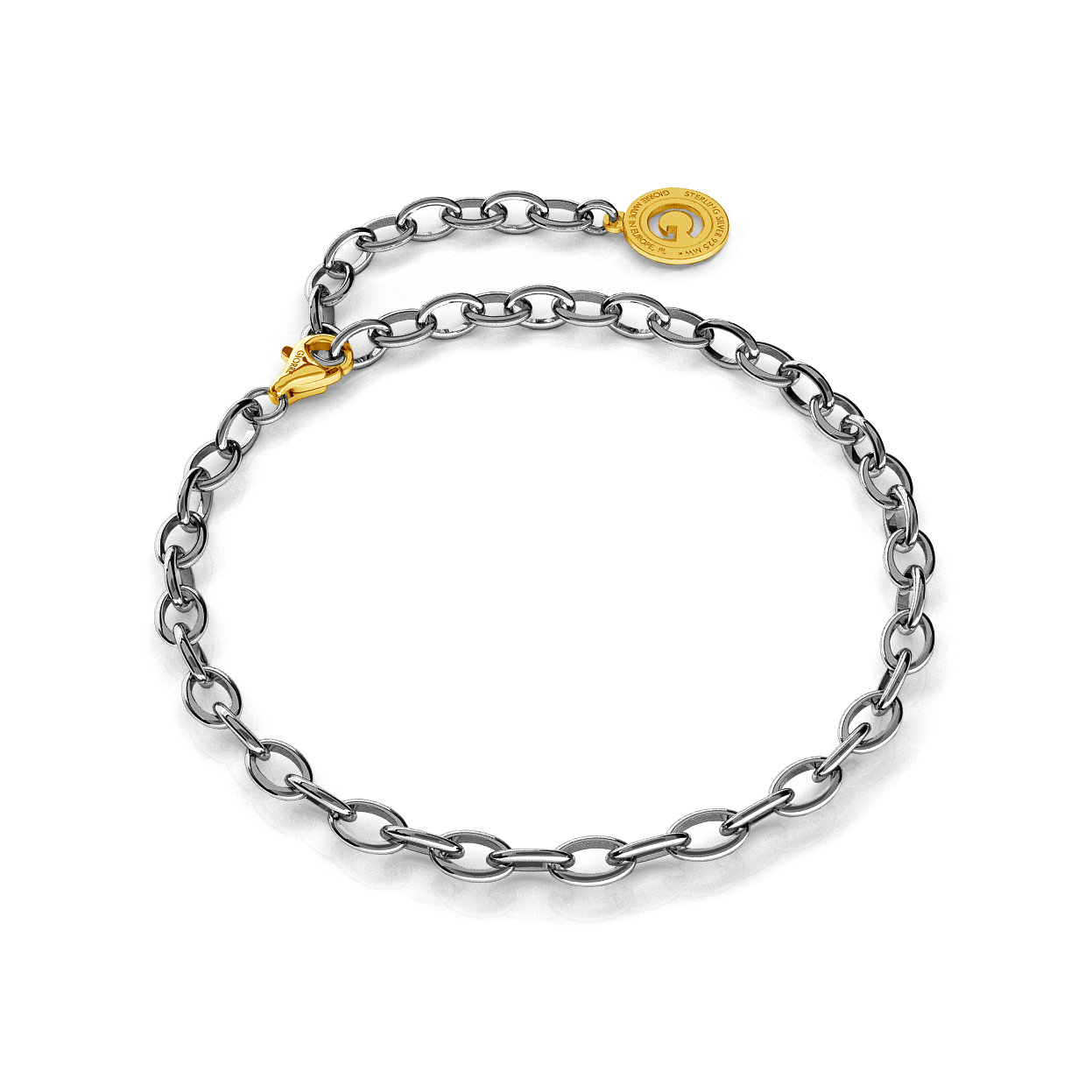 STERLING SILVER BRACELET 16-24 CM BLACK RHODIUM, YELLOW GOLD CLASP, LINK 6X4 MM