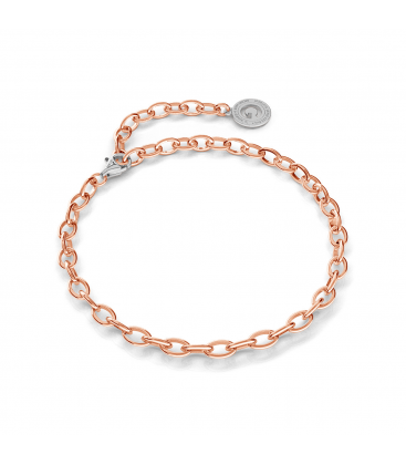 STERLING SILVER BRACELET 16-24 CM PINK GOLD, LIGHT RHODIUM CLASP, LINK 6X4 MM