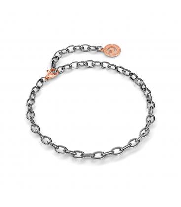 Bracelet en argent 16-24 cm rhodium noir, fermoir or rose, lien 6x4 mm